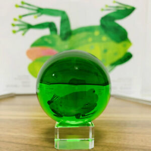 Asian-Rare-Natural-Quartz-Green-Magic-Crystal-Healing-Ball-Sphere-40mm-Stand