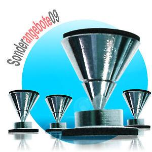 4x-DYNAVOX-Lautsprecher-Boxen-Spike-Spikes-Fuesse-Absorber-Chrome-Silber-Boxenfuesse