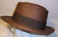 Beaver Brand Size 6 5/8 Genuine Milan Straw Braid Brown Color Usa Made