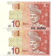 "MALAYSIA  RM10 x 2pcs R/N ALI HASSAN CENTRE Sign CE_3508852 ~ 853 ""UNC"""
