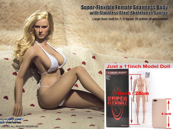 1 6 TBLeague Phicen hembra gran modelo de cuerpo pecho Bronceado Sin Costuras Juguete S06 Juguete
