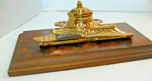 Vintage-Brass-Inkwell-with-metal-insert-for-ink-and-a-brass-Letter-Opener