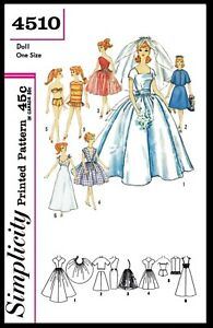 Simplicity-4510-Barbie-Fashion-TEEN-DOLL-Fabric-Sewing-Pattern-Vintage-BRIDAL