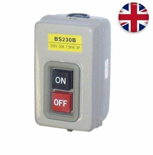UK BENCH TOOL DRILL PRESS SWITCH PUSH BUTTON ISOLATOR METAL STARTER MOTOR BS230B
