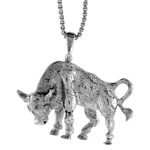 "Sterling Silver Bull Pendant Charm 3//4/"""