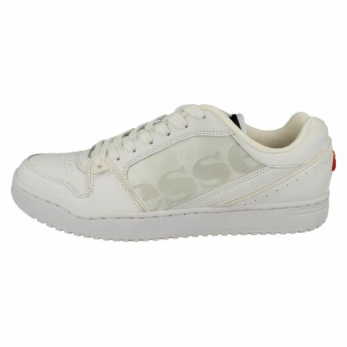 MENS ELLESSE BLACK LACE UP CASUAL LEATHER SPORTS TRAINERS SHOES ASSIST II LOW
