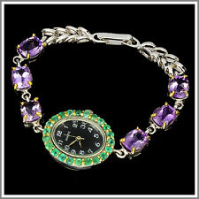 HANDMADE NATURAL GREEN EMERALD,PURPLE AMETHYST 2-TONE 925 SILVER WATCH 7 INCHES
