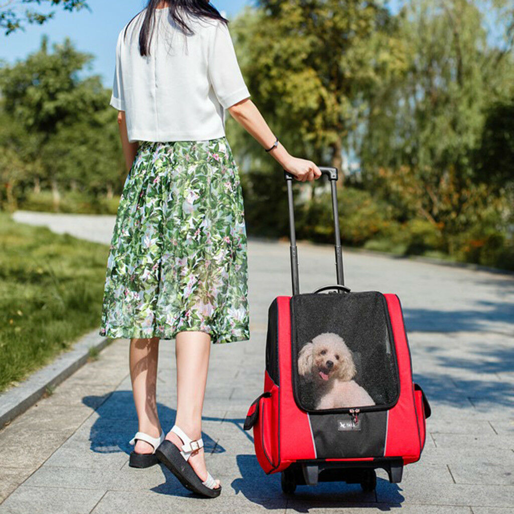 2-Ruota Passeggino per animali domestici carrello portante Viaggio Zaino GABBIA PER CANE GATTO ROSSO