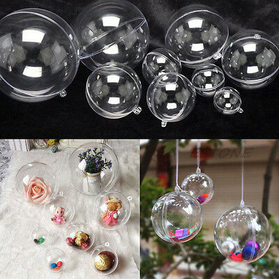 10x Clear Plastic Ball Ornament Baubles Xmas Party Home Hanging Decoration Gift