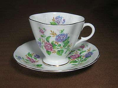 Clarence Bone China 4 Lobed Cup And Saucer Blue And Pink