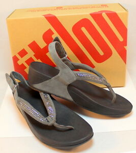 9cd4106526d1aa Fitflop Crystal Swirl Pewter Gray Wedge Sandal NIB Bling New US 10 ...