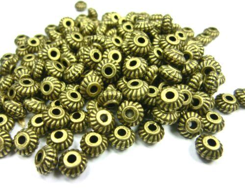 100 spacer 6x3mm rondell metal perlas entre perlas color bronce metal #s470