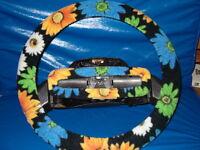 Sun Flowers On Black Fleece Steering Wheel Cover Set.