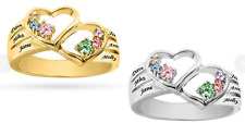 Personalized Sterling Silver Family Ring w/ Heart Mother Birthstone Name Ring
