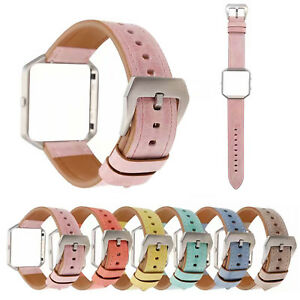Shockproof-Metal-Bumper-Cover-Genuine-Leather-Strap-Watch-Band-for-Fitbit-Blaze