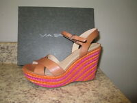 Via Spiga evelina Ankel Strap Wedges Cinnamon 8.5 Leather With Box