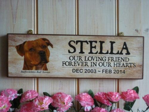 STAFFORDSHIRE BULL TERRIER IN MEMORY SIGN STAFFY MEMORIAL SIGN PET MEMORIAL DOGS