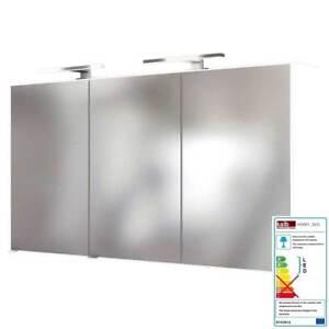 Details zu LED Badezimmer Spiegelschrank 120 cm matt weiß Badspiegel  Badezimmerspiegel