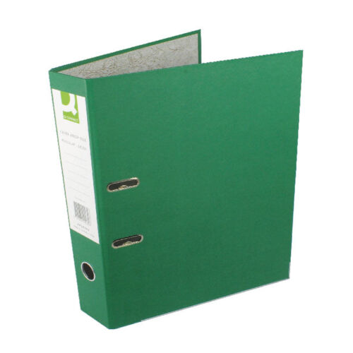 KF20032 GREEN 10 PACK FOOLSCAP Q-CONNECT LEVER ARCH FILE PAPER BACKED