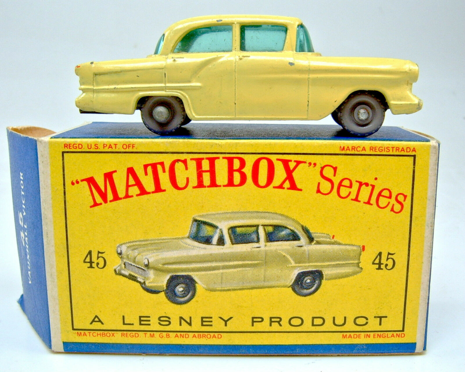 MATCHBOX RW 45a Vauxhall Victor amarillo RUOTE GRIGIE IN  D  BOX