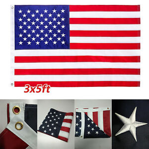 American Flag US USA3x5 ftDOUBLE SIDED Embroidered Stars G128