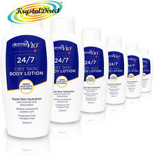 6x Derma V10 24/7 Dry Skin Body Lotion 200ml With Almond Oil & Shea Butter