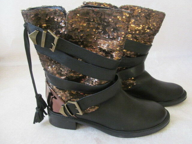 JUNE AMBROSE LEATHER noir COOPER SEQUIN RIDING bottes Taille 8 M - NEW W BOX