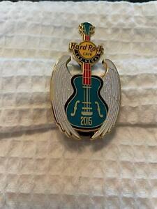 Hard Rock Cafe Pin Las Vegas - Blue Guitar w White Glitter Wings - Year 2016