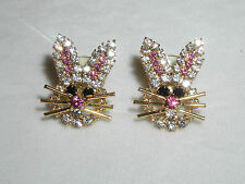 BUNNY RABBIT EARRINGS EASTER AUSTRIAN CRYSTAL GLITTERING GIFT BUNNIES GOLD TONE