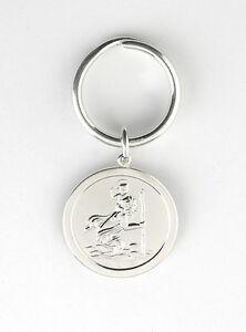 Solid-Silver-Key-Ring-St-Christopher-Hallmarked-Handmade