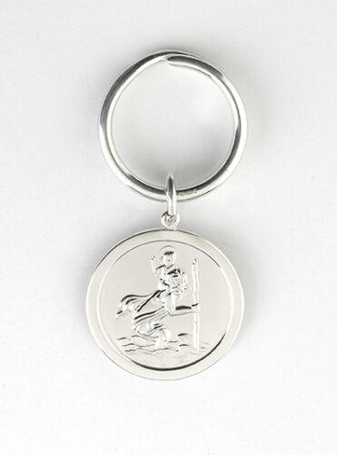 Solid Silver Key Ring St Christopher Hallmarked Handmade