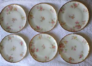 Antique-Limoges-GDA-Gold-Gilt-Pink-Yellow-Roses-Dessert-Salad-Plate-Lot-of-6