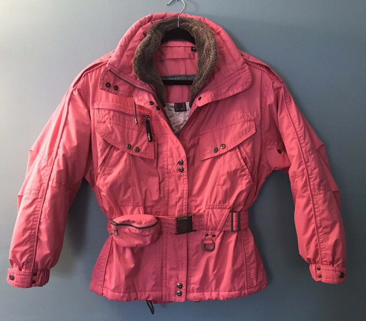 Killy Parka Coat Technical Equipment Recco Rescue System Ski Größe 6 US Rosa