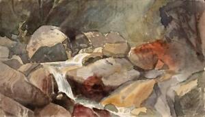 EMILY G HOWARD Small Watercolour Painting ROCKY LANDSCAPE MACUGNAGA ITALY 1882