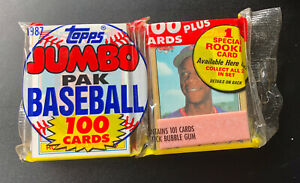 SEALED 1987 TOPPS JUMBO RACK PACK W/ Strawberry All Star ON TOP 100 CARD PACK