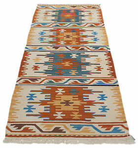 Brillant Fr-7697-7-kilim Main Authentique Faite Avec Certificat D'authenticité 198x69 Cm Finement Traité
