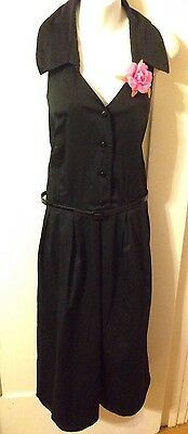 New Lane Bryant Retro Rockabilly Pinup Black Strapless Button Halter Dress 24w
