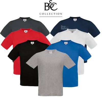 B&c T-shirt Uomo V-neck Top Morbido Cotone Manica Corta Di Base Semplice Colori S-2xl-