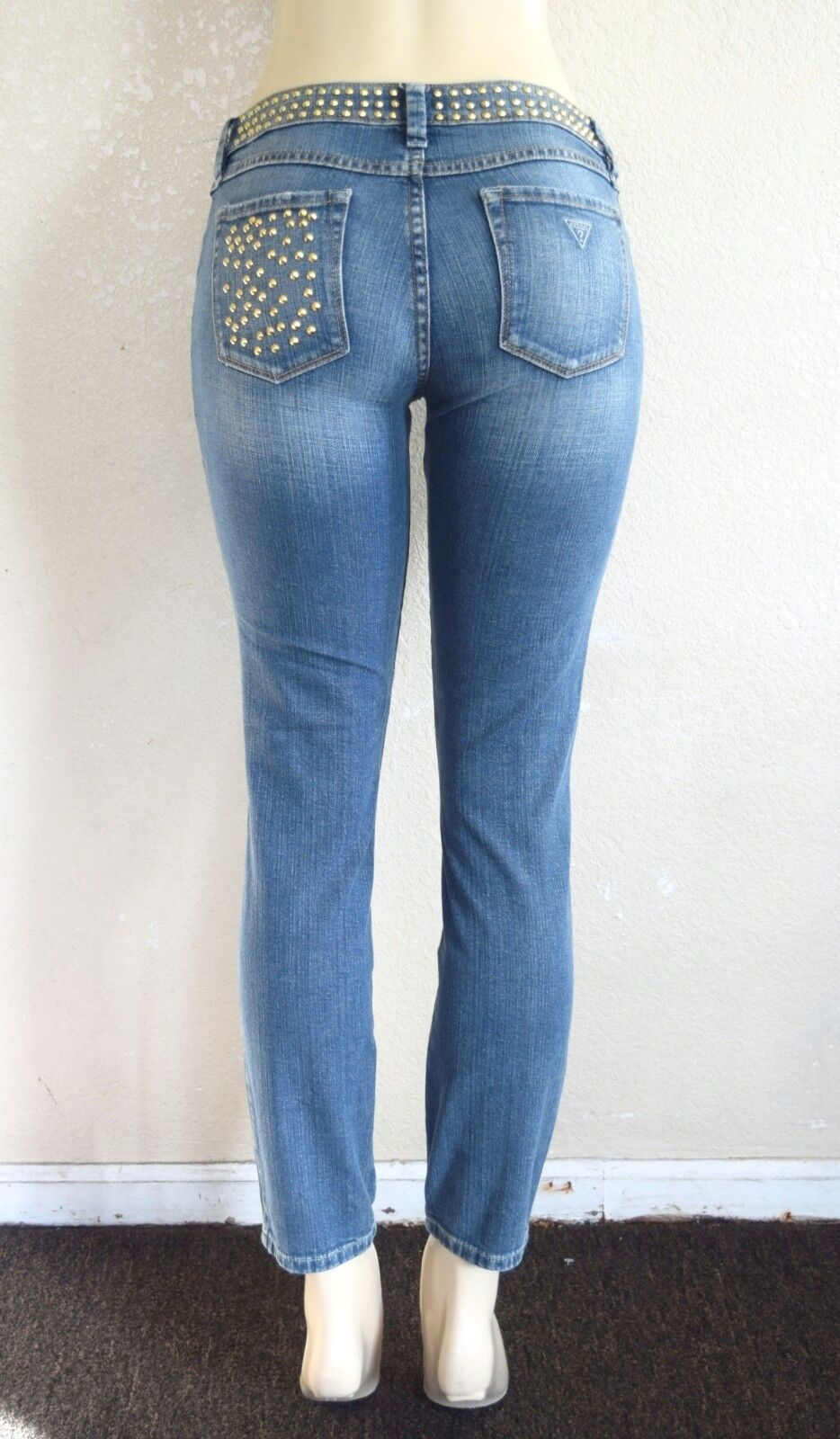 GUESS Women's Brittney Ankle Skinny Jeans with Studs – Mid-bluee Wash sz 27