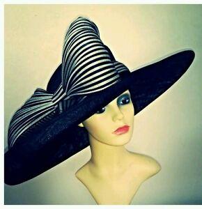 Ladies-xxl-black-and-white-striped-statement-hat-Ascot-races-wedding-bow-jinsin
