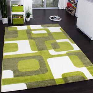 Tapis-De-Createur-De-Style-Retro-En-Vert-Blanc-Gris-Super-Qualite-a-Petit-Prix