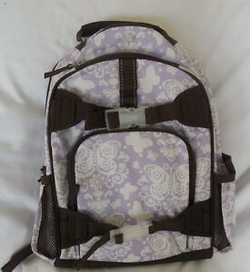 Image is loading Pottery-Barn-Kid-Mackenzie-Lavender-Butterflies -Damask-Backpack c18a49190e1d0