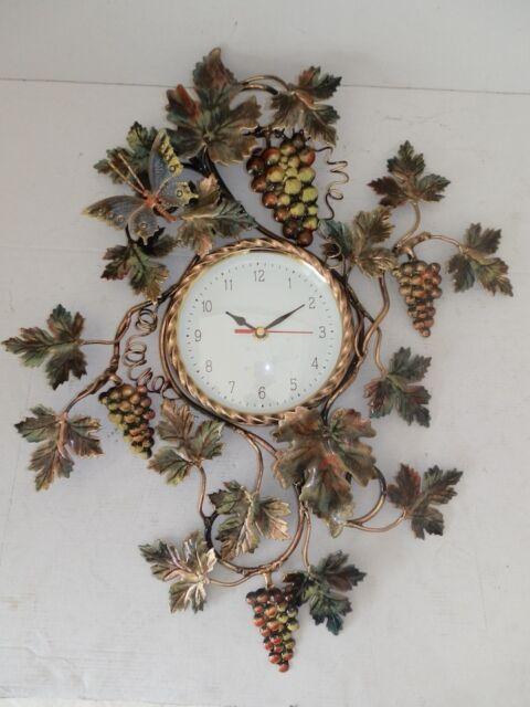 Grande orologio da parete UVA con foglie in FERRO BATTUTO ORO
