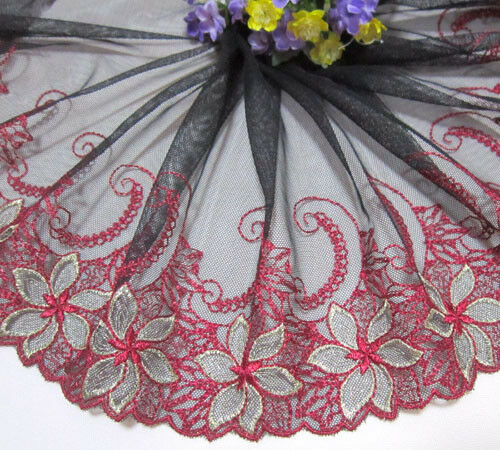 "8""*1yard Embroidered Black Tulle Lace Trim Sewing/Craft~red~gold"