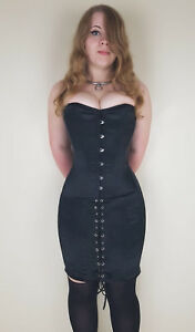 hobble corset dress tight lacing steel bones overbust
