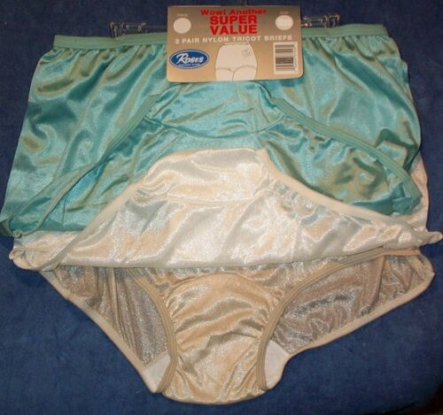 3 Pair White Size 7 Assorted Nylon Tricot Brief Panty USA Made Roses CLOSE OUT!