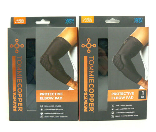 LOT OF 2  NEW Tommie Copper Sport Protective Elbow Pads Sz Large// X-Large  Black