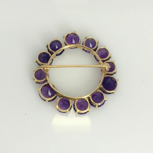 Details about  /Vintage 14K Yellow Gold Over 2.24CT Round Cut Amethyst Pretty Party Wear Brooch