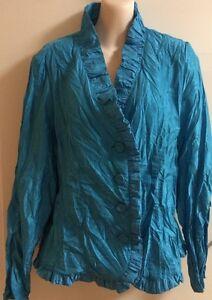 Aqua-crinkle-look-Blouse-Button-Front-top-Size-12