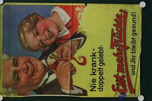 altes-orig-Plakat-Nie-Krank-Esst-mehr-Fruechte-und-Ihr-bleibt-gesund